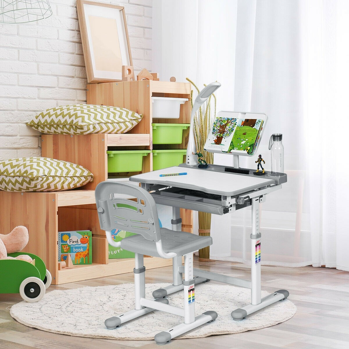 Image of: Adjustable Kids Desk Chair Set With Lamp And Bookstand Gray